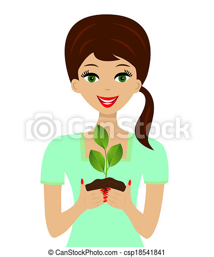 for a woman in hands plant - csp18541841