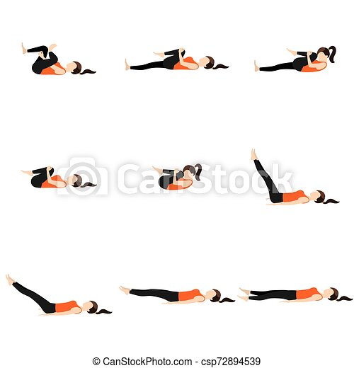for digestion press and relaxion yoga poses set