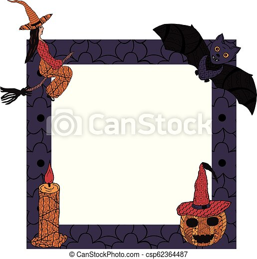 For Halloween. A square frame with a witch on a broomstick, a candle, a bat, a smiling pumpkin in a witch's cap in patterns in the style of Zenart. Vector. - csp62364487