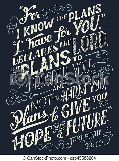 For I know the plans I have for you bible quote - csp45588204