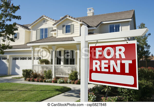 For Rent Real Estate Sign in Front of House - csp5827848