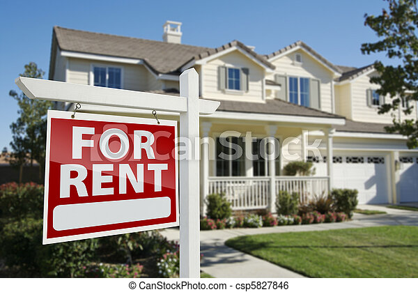 For Rent Real Estate Sign in Front of House - csp5827846