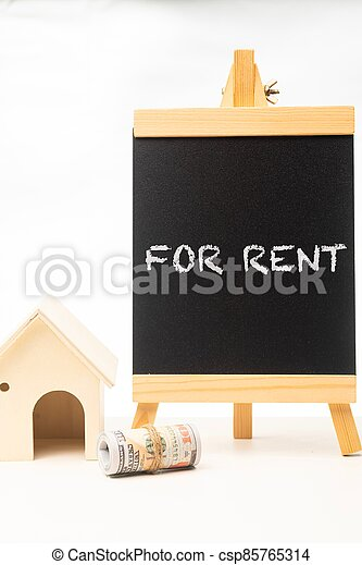 For Rent wordings on a chalkboard - csp85765314