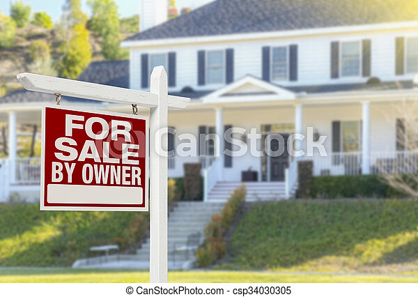 For Sale By Owner Real Estate Sign and House - csp34030305