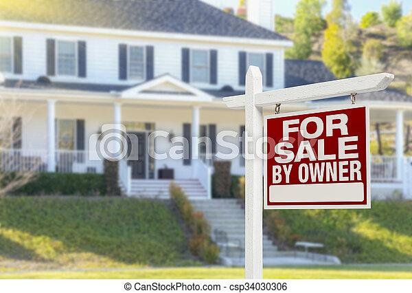 For Sale By Owner Real Estate Sign and House - csp34030306