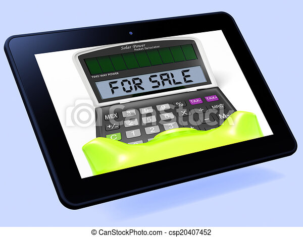 for sale calculator tablet shows selling or listing for sale
