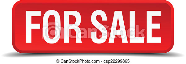 For sale red 3d square button isolated on white background - csp22299865