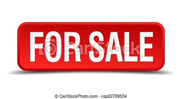 For sale red 3d square button isolated on white background - csp22789534