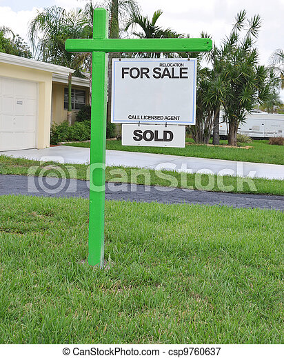 For Sale Relocation Sold Sign - csp9760637