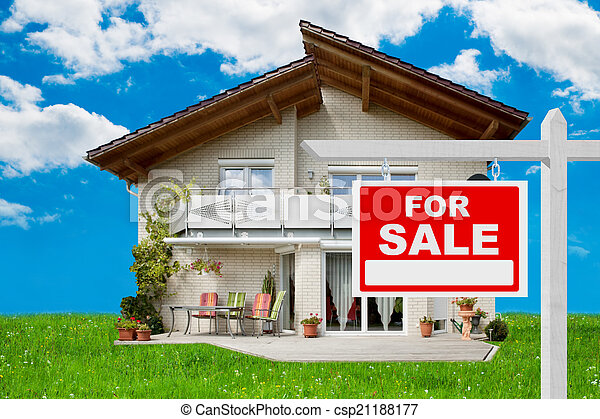 For Sale Sign In Front Of House - csp21188177