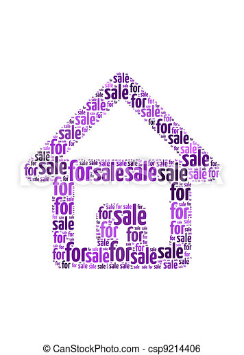 for sale text on house symbol  graphic and arrangement concept - csp9214406