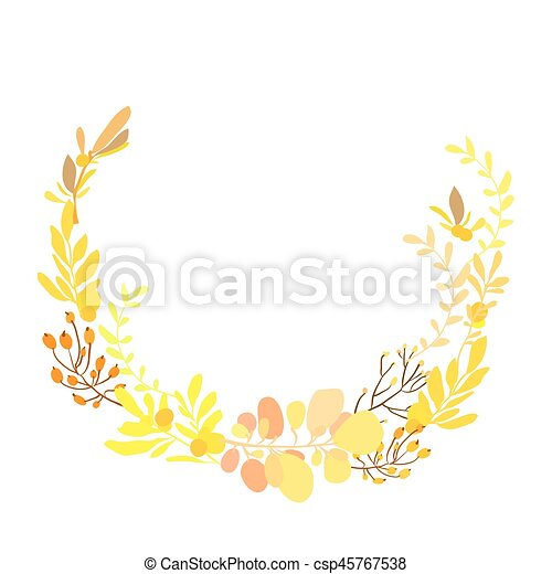Foral Flowers Wreath Floral Wreath With Spring Summer Yellow