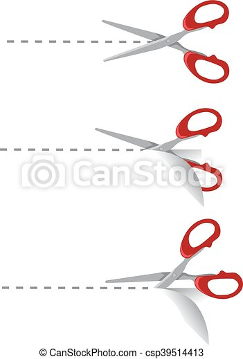 forbici, taglio, set, linea, punteggiato - csp39514413