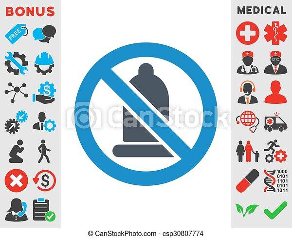 Forbidden Condom Icon - csp30807774