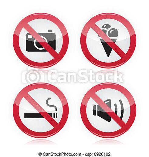 Forbidden sign: no cameras, no food - csp10920102