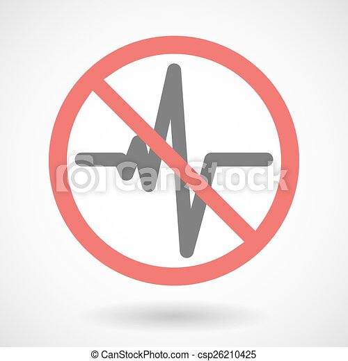 Forbidden signal with a heart beat sign - csp26210425