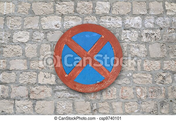 forbidden stopping and parking sign - csp9740101