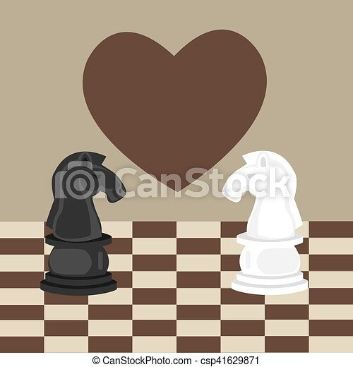 forbidden taboo no romance two horse chess fall in love - csp41629871