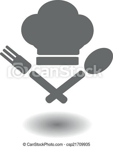 forchetta, cappello, cucchiaio, attraversato - csp21709935