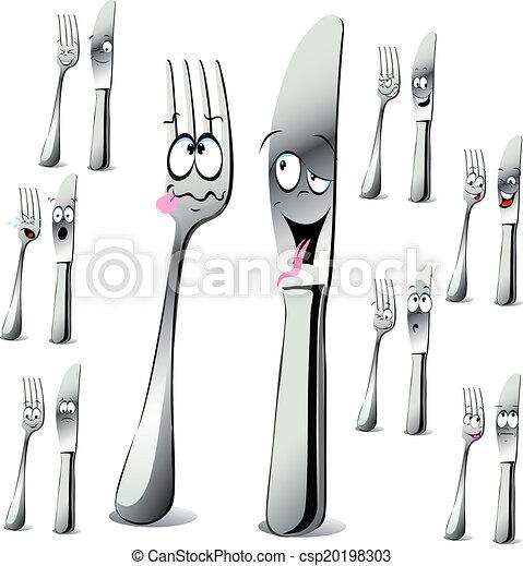forchetta, cartone animato, coltello - csp20198303