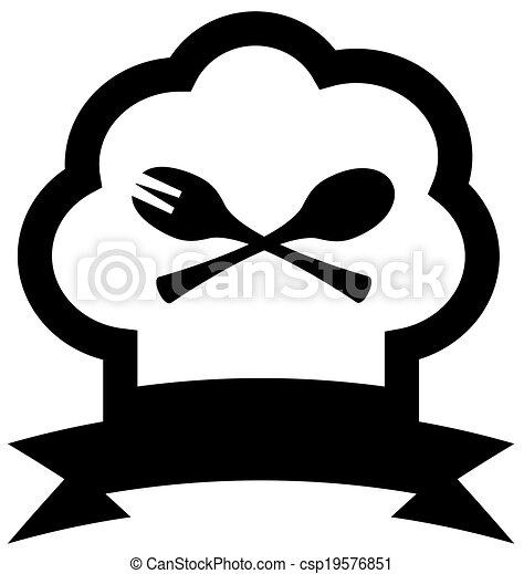 forchetta, chef, cucchiaio, cappello, icona - csp19576851