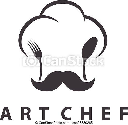 forchetta, concetto, chef, spoon., illustrazione, vettore, cappello - csp35880265