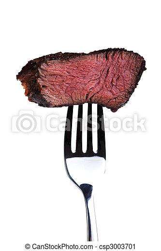 forchetta, cotto ferri, bistecca, pezzo - csp3003701