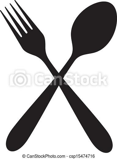 forchetta, cucchiaio, attraversato - csp15474716