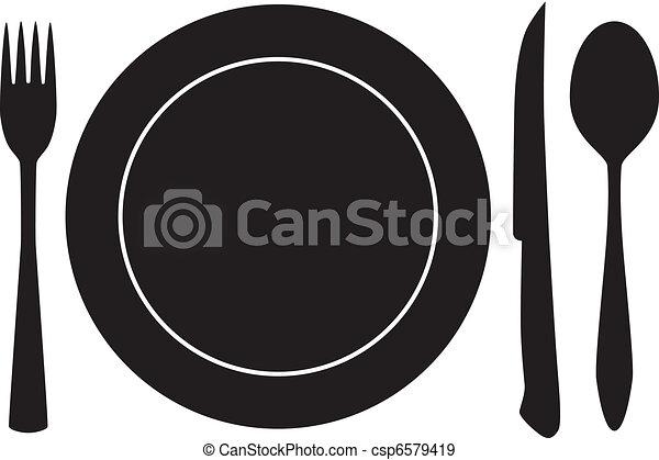 forchetta, cucchiaio, vettore, piatto, coltello - csp6579419