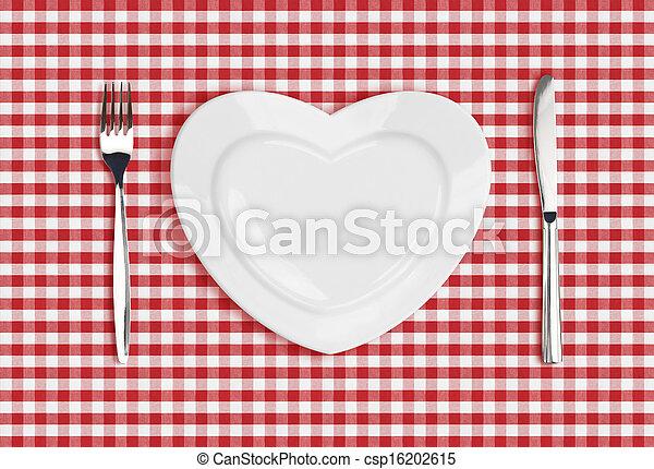 forchetta, cuore, controllato, piastra, tovaglia, coltello - csp16202615