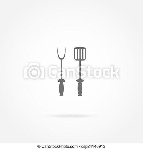 forchetta, griglia, vanga, icona - csp24146913