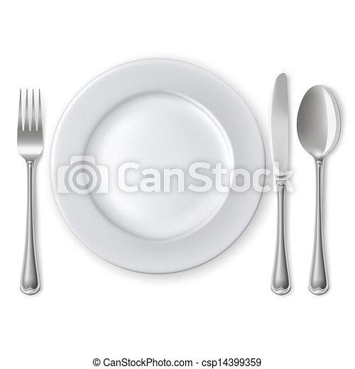 forchetta, piastra, coltello, cucchiaio - csp14399359