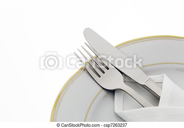 forchetta, piastra, coltello - csp7263237