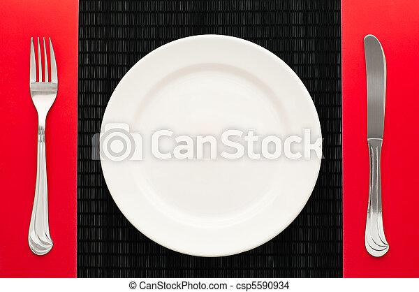 forchetta, piastra, coltello, vuoto - csp5590934