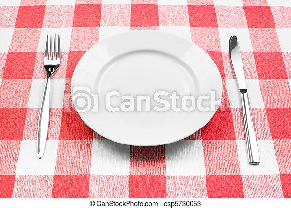 forchetta, piastra, controllato, bianco, coltello, tovaglia, rosso - csp5730053
