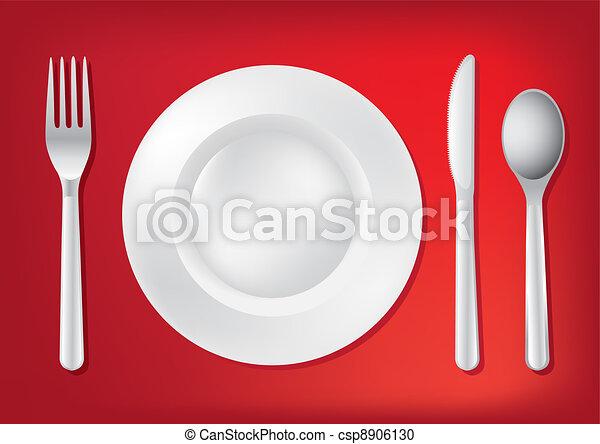 forchetta, piastra, -, illustrazione, bianco, coltello - csp8906130
