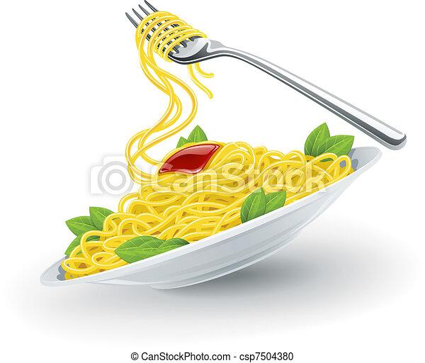 forchetta, piastra, pasta, italiano - csp7504380