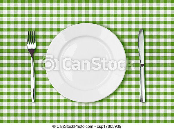 forchetta, piastra, picnic, verde bianco, coltello, tovaglia - csp17805939