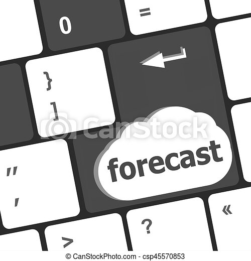 forecast key or keyboard showing forecast or investment concept - csp45570853