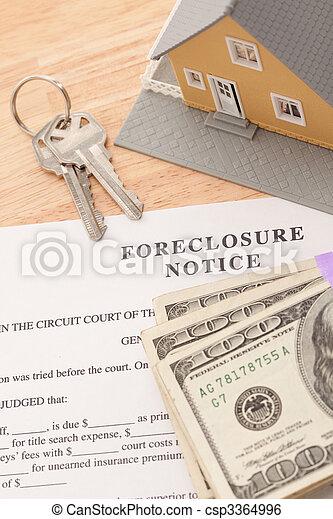 foreclosure, aviso, teclas, dinheiro, casa, pilha, lar - csp3364996