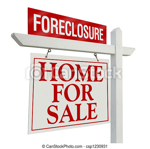 Foreclosure Home For Sale Real Estate Sign - csp1230931