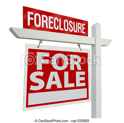 Foreclosure Home For Sale Real Estate Sign - csp1230928