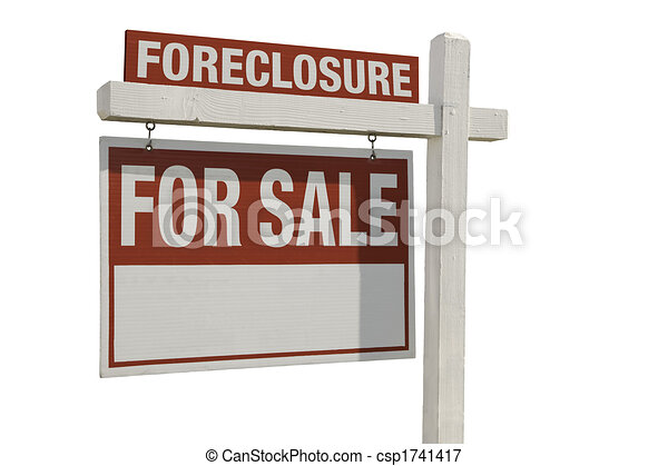Foreclosure Home For Sale Real Estate Sign - csp1741417