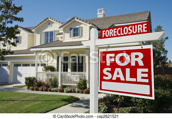 Foreclosure Home For Sale Sign and House - csp2621521