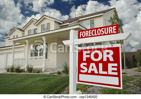 Foreclosure Home For Sale Sign & House - csp1346420