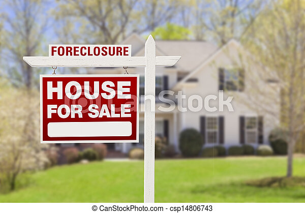 Foreclosure Home For Sale Sign in Front of House - csp14806743