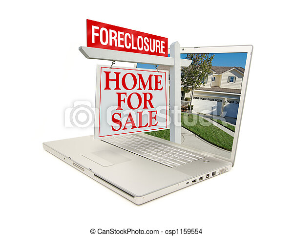 Foreclosure Home for Sale Sign & Laptop - csp1159554
