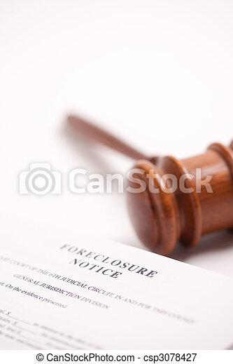 Foreclosure Notice and Gavel - csp3078427
