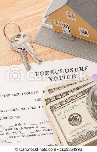 Foreclosure Notice, Home, House Keys and Stack of Money - csp3364996