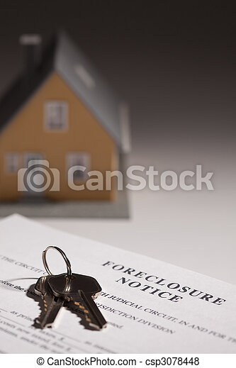 Foreclosure Notice, House Keys and Model Home on Gradated Background with Selective Focus. - csp3078448